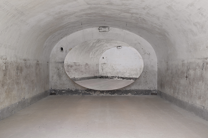 Untitled (Fortress), 2013, 385 x 250 cm (oval), installation view